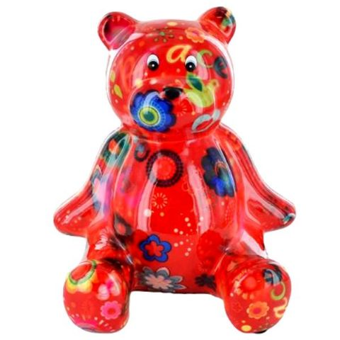 Teddy The Bear Red Flowers Ceramic Money Box